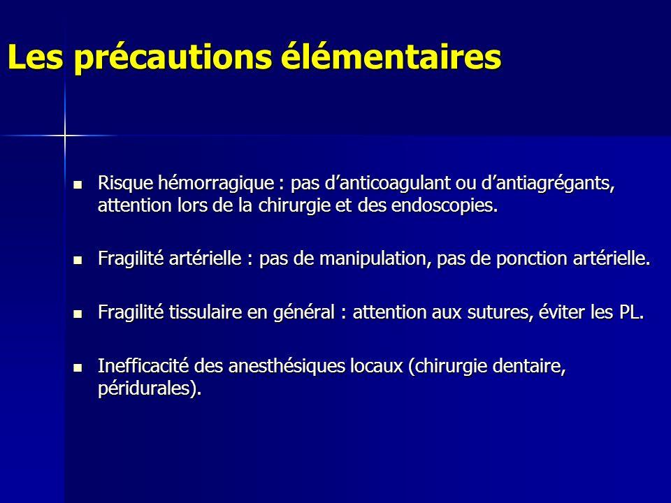 Les précautions élémentaires Risque hémorragique : pas danticoagulant ou dantiagrégants, attention lors de la chirurgie et des endoscopies.