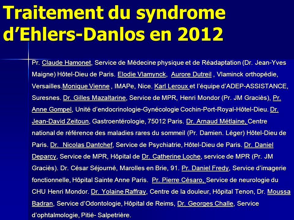 Rappel sur le syndrome dEhlers-Danlos Cest une affection génétique (à transmission autosomique dominante un enfant sur deux) touchant diffusément le tissu conjonctif (75% au moins du corps).