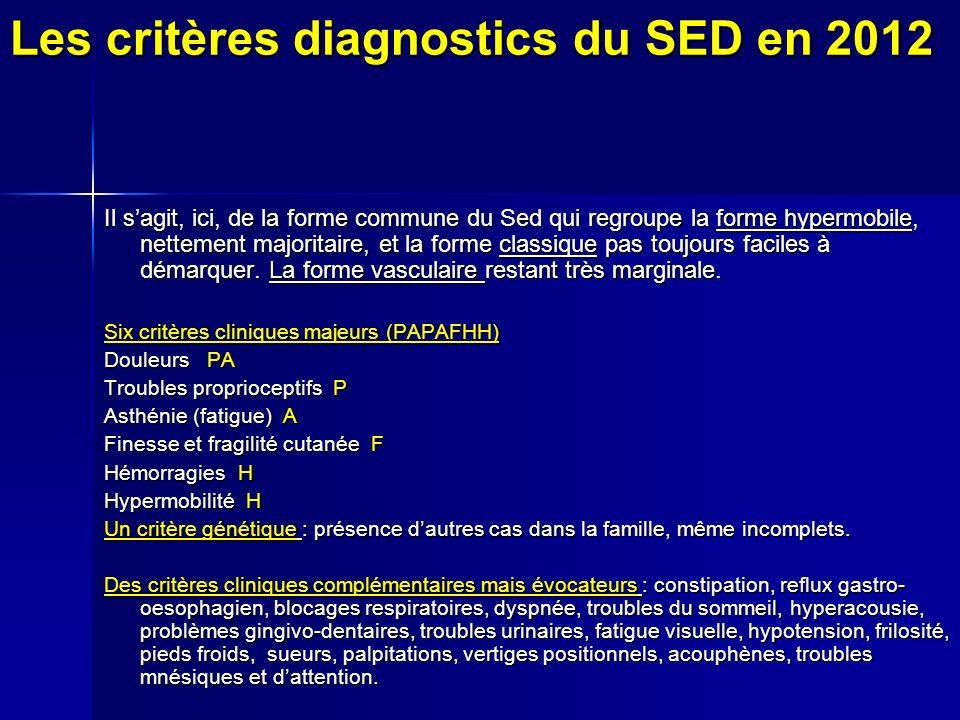 Les critères diagnostics du SED en 2012 Il sagit, ici, de la forme commune du Sed qui regroupe la forme hypermobile, nettement majoritaire, et la forme classique pas toujours faciles à démarquer.