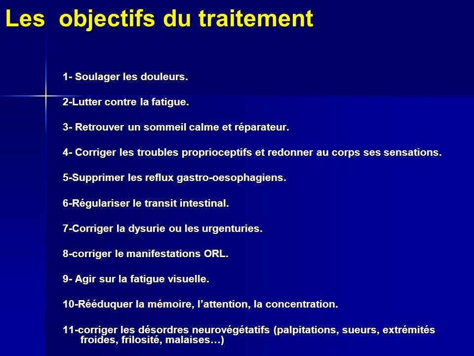 Les objectifs du traitement 1- Soulager les douleurs.