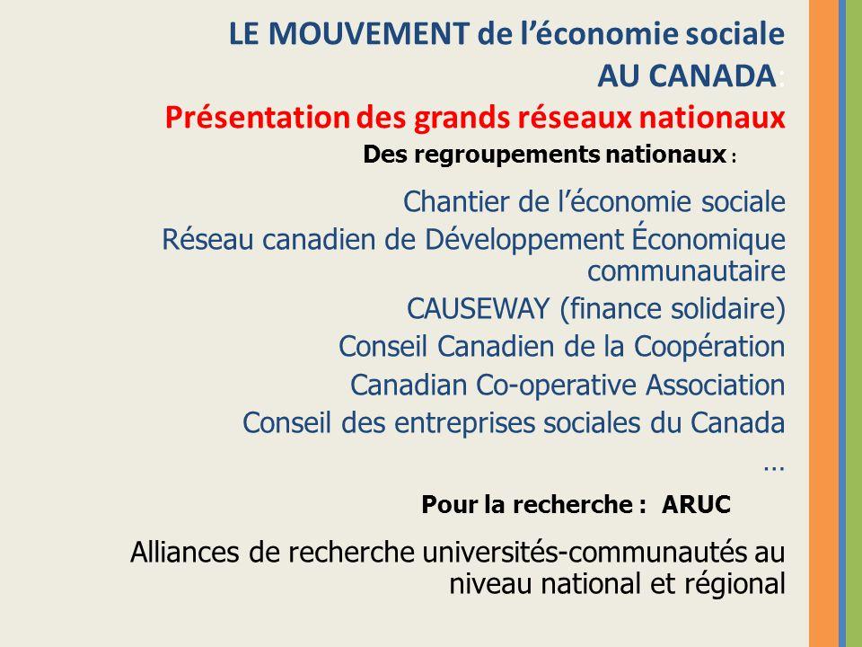 LE MOUVEMENT de léconomie sociale AU CANADA: Présentation des grands réseaux nationaux Chantier de léconomie sociale Réseau canadien de Développement