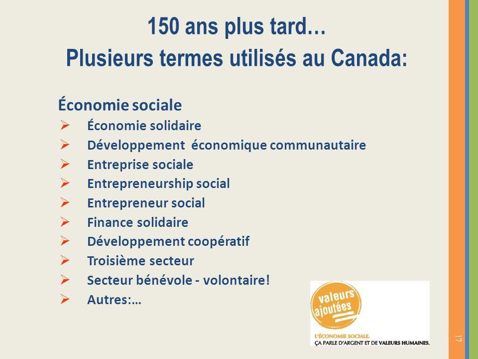 150 ans plus tard… Plusieurs termes utilisés au Canada: Économie sociale Économie solidaire Développement économique communautaire Entreprise sociale