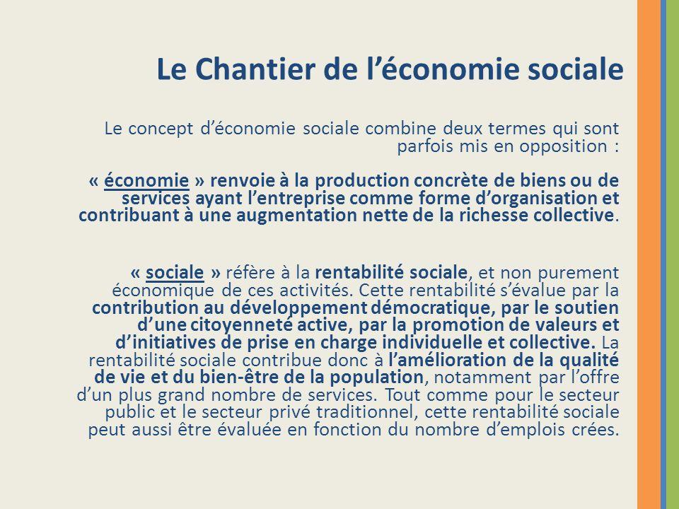 Le Chantier de léconomie sociale Le concept déconomie sociale combine deux termes qui sont parfois mis en opposition : « économie » renvoie à la produ
