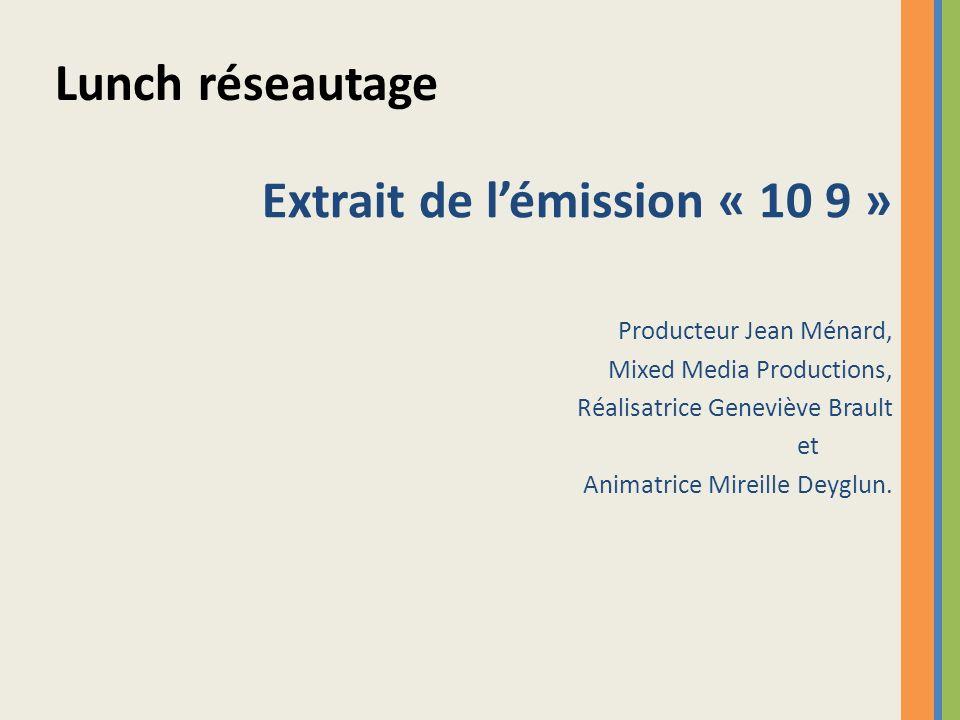 Extrait de lémission « 10 9 » Producteur Jean Ménard, Mixed Media Productions, Réalisatrice Geneviève Brault et Animatrice Mireille Deyglun. Lunch rés