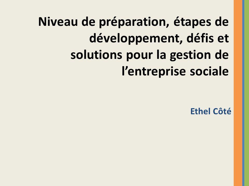 Ethel Côté Niveau de préparation, étapes de développement, défis et solutions pour la gestion de lentreprise sociale