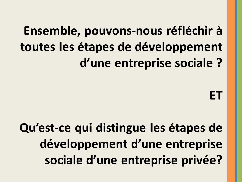 Ensemble, pouvons-nous réfléchir à toutes les étapes de développement dune entreprise sociale ? ET Quest-ce qui distingue les étapes de développement