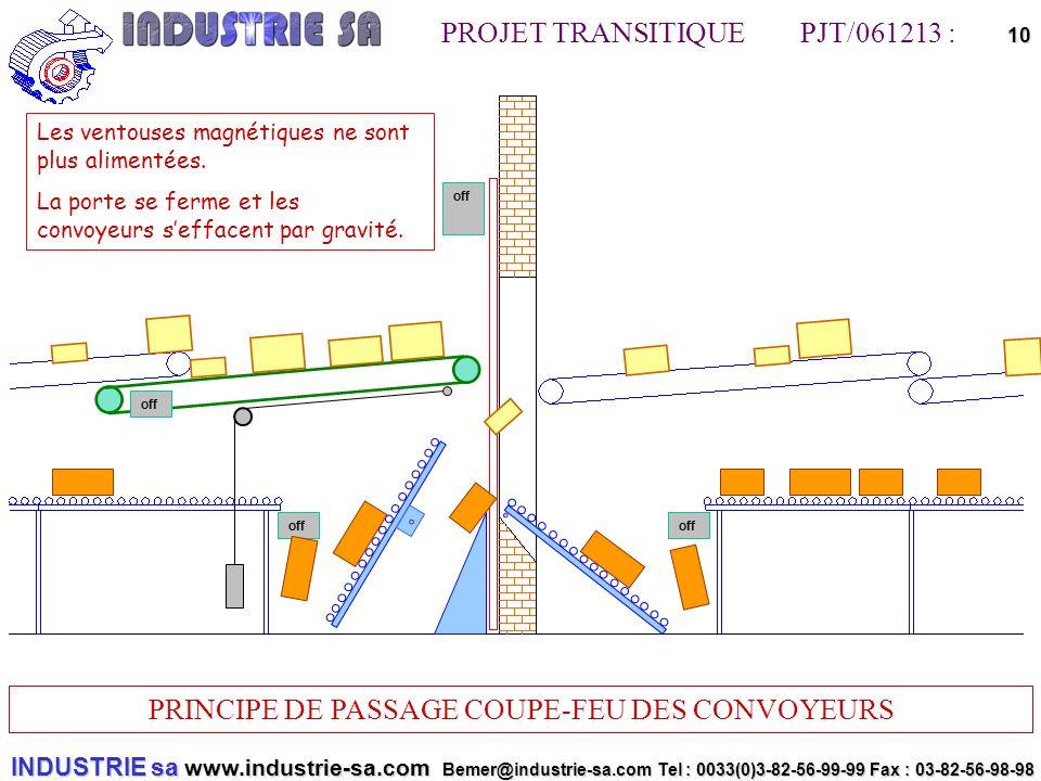 INDUSTRIE sa www.industrie-sa.com Bemer@industrie-sa.com Tel : 0033(0)3-82-56-99-99 Fax : 03-82-56-98-98 PROJET TRANSITIQUE PJT/061213 : PRINCIPE DE PASSAGE COUPE-FEU DES CONVOYEURS 10off off Les ventouses magnétiques ne sont plus alimentées.