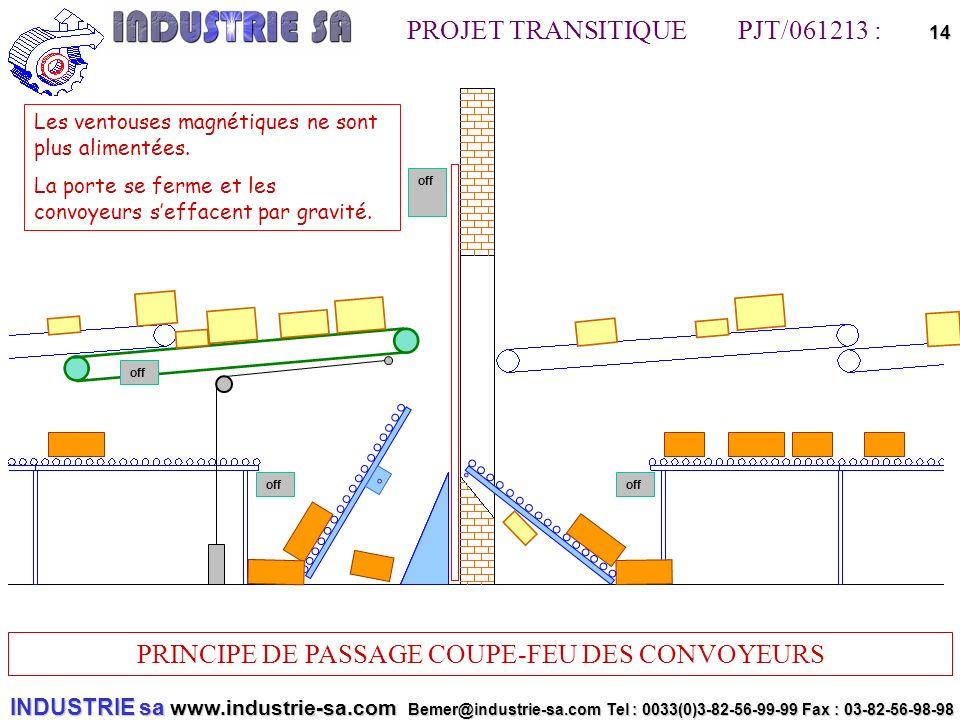 INDUSTRIE sa www.industrie-sa.com Bemer@industrie-sa.com Tel : 0033(0)3-82-56-99-99 Fax : 03-82-56-98-98 PROJET TRANSITIQUE PJT/061213 : PRINCIPE DE PASSAGE COUPE-FEU DES CONVOYEURS 14off off Les ventouses magnétiques ne sont plus alimentées.