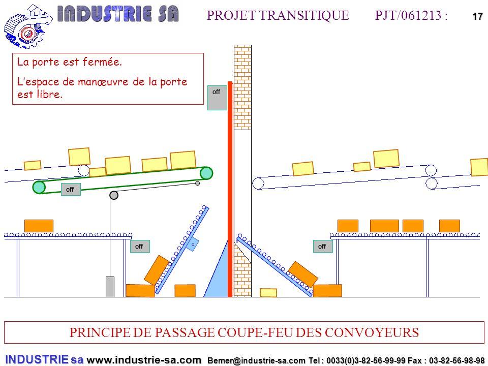 INDUSTRIE sa www.industrie-sa.com Bemer@industrie-sa.com Tel : 0033(0)3-82-56-99-99 Fax : 03-82-56-98-98 PROJET TRANSITIQUE PJT/061213 : PRINCIPE DE PASSAGE COUPE-FEU DES CONVOYEURS 17off off La porte est fermée.