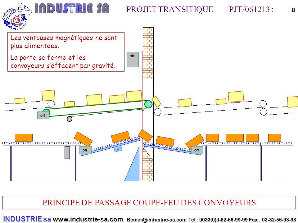 INDUSTRIE sa www.industrie-sa.com Bemer@industrie-sa.com Tel : 0033(0)3-82-56-99-99 Fax : 03-82-56-98-98 PROJET TRANSITIQUE PJT/061213 : PRINCIPE DE PASSAGE COUPE-FEU DES CONVOYEURS 8offoff off off Les ventouses magnétiques ne sont plus alimentées.