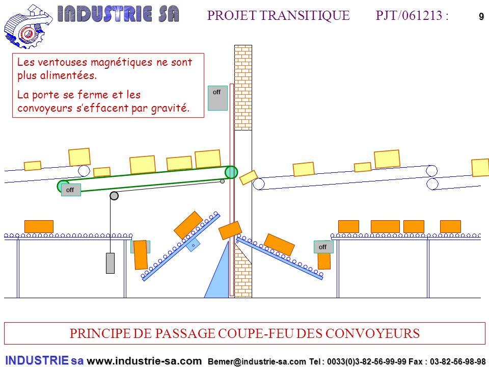 INDUSTRIE sa www.industrie-sa.com Bemer@industrie-sa.com Tel : 0033(0)3-82-56-99-99 Fax : 03-82-56-98-98 PROJET TRANSITIQUE PJT/061213 : PRINCIPE DE PASSAGE COUPE-FEU DES CONVOYEURS 9off off Les ventouses magnétiques ne sont plus alimentées.