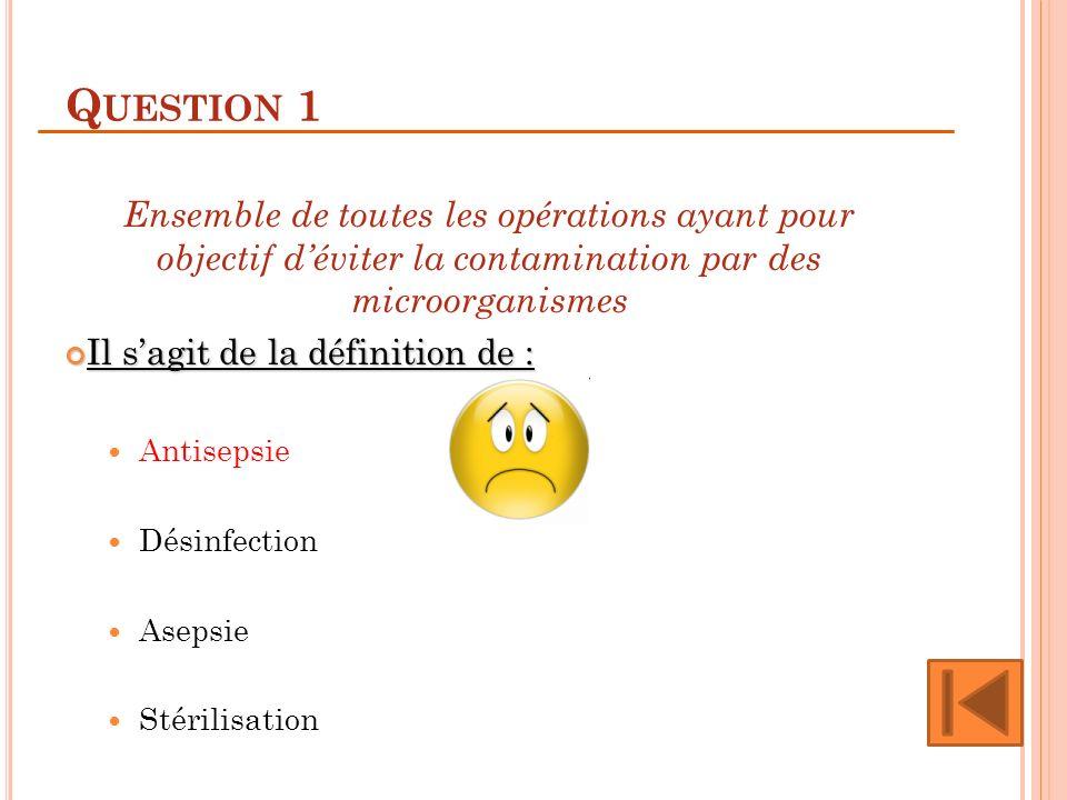 Q UESTION 1 Ensemble de toutes les opérations ayant pour objectif déviter la contamination par des microorganismes Il sagit de la définition de : Il s