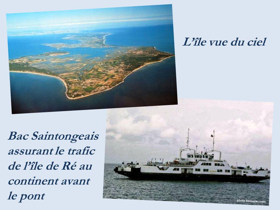 Île de Ré : longueur 26 Km, largeur variant de 70m à 5 km, 100km de côtes, la moitié de plages, superficie denviron 85 km2