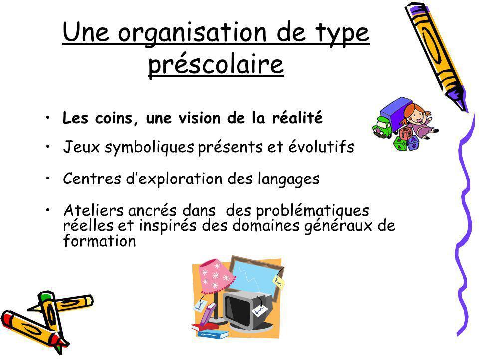 Une organisation de type préscolaire Les coins, une vision de la réalité Jeux symboliques présents et évolutifs Centres dexploration des langages Atel