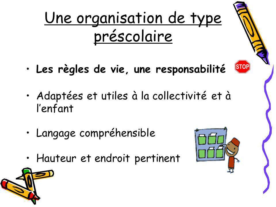 Une organisation de type préscolaire Les règles de vie, une responsabilité Adaptées et utiles à la collectivité et à lenfant Langage compréhensible Ha