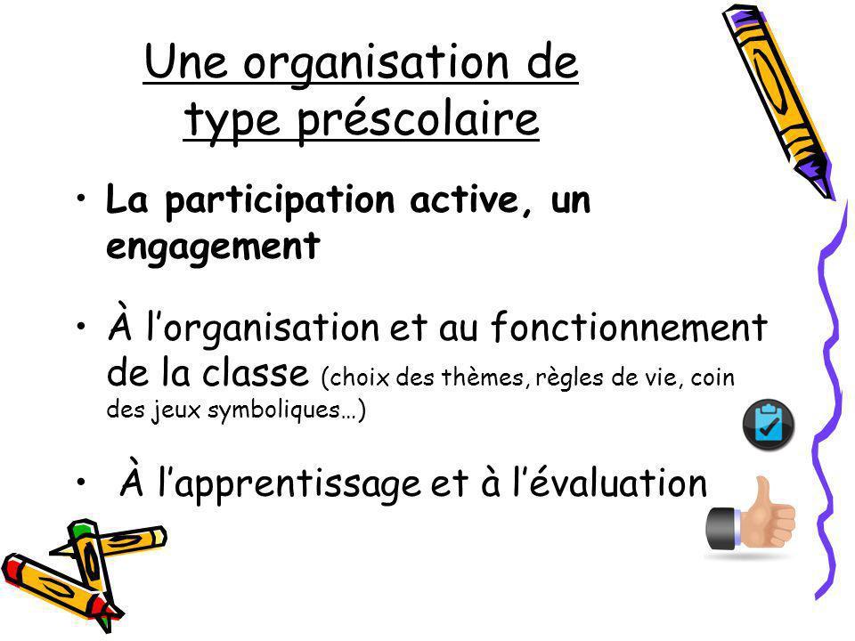 Une organisation de type préscolaire La participation active, un engagement À lorganisation et au fonctionnement de la classe (choix des thèmes, règle