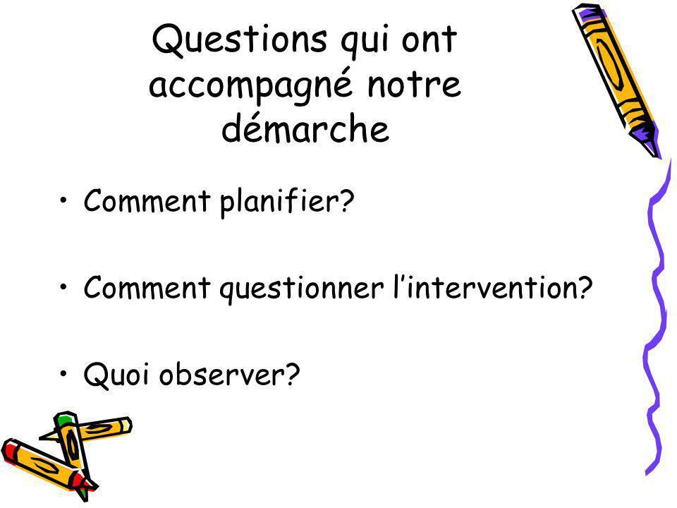 Questions qui ont accompagné notre démarche Comment planifier? Comment questionner lintervention? Quoi observer?