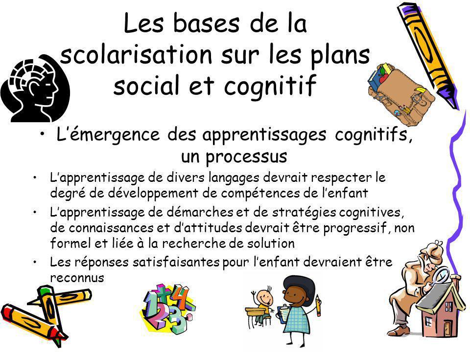 Les bases de la scolarisation sur les plans social et cognitif Lémergence des apprentissages cognitifs, un processus Lapprentissage de divers langages