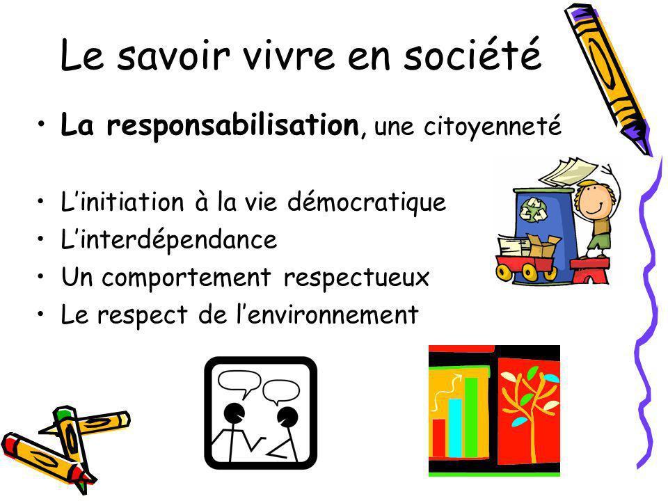 Le savoir vivre en société La responsabilisation, une citoyenneté Linitiation à la vie démocratique Linterdépendance Un comportement respectueux Le re