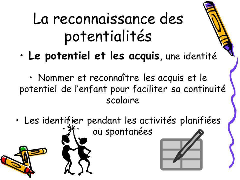 La reconnaissance des potentialités Le potentiel et les acquis, une identité Nommer et reconnaître les acquis et le potentiel de lenfant pour facilite