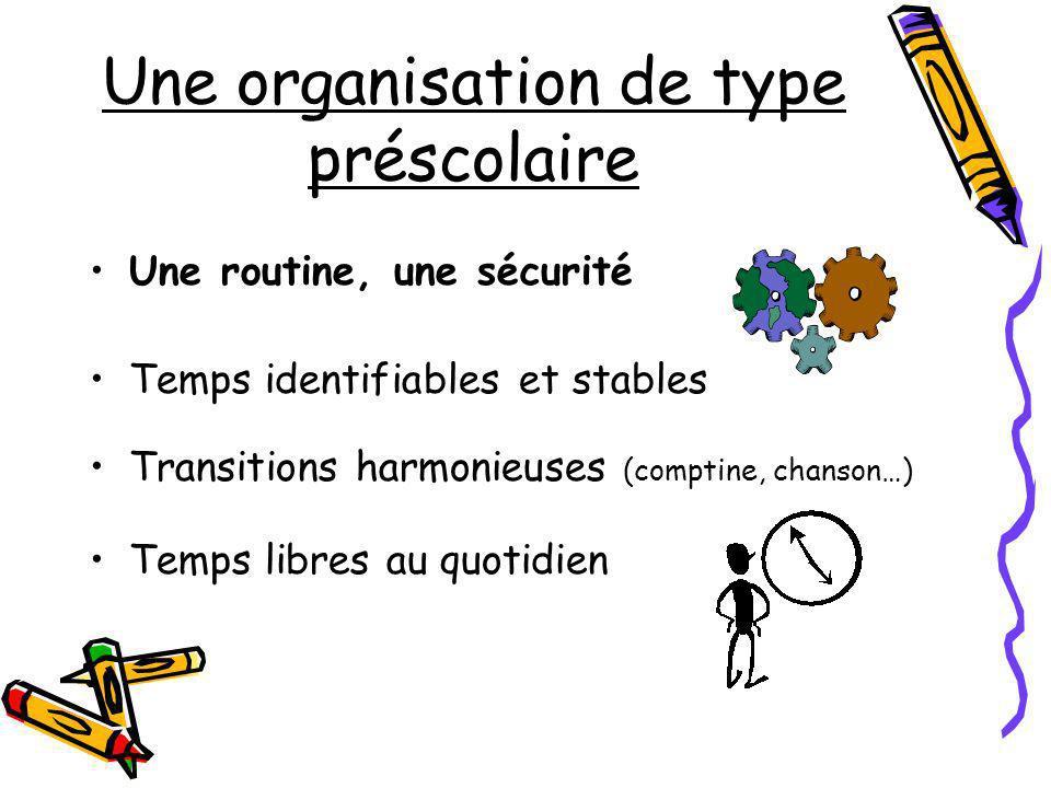 Une organisation de type préscolaire Une routine, une sécurité Temps identifiables et stables Transitions harmonieuses (comptine, chanson…) Temps libr