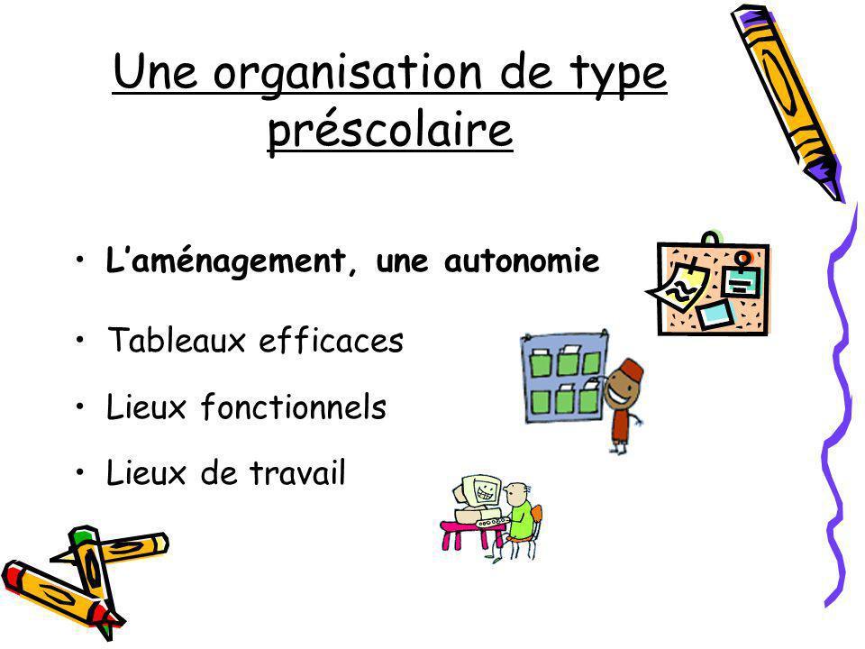 Une organisation de type préscolaire Laménagement, une autonomie Tableaux efficaces Lieux fonctionnels Lieux de travail