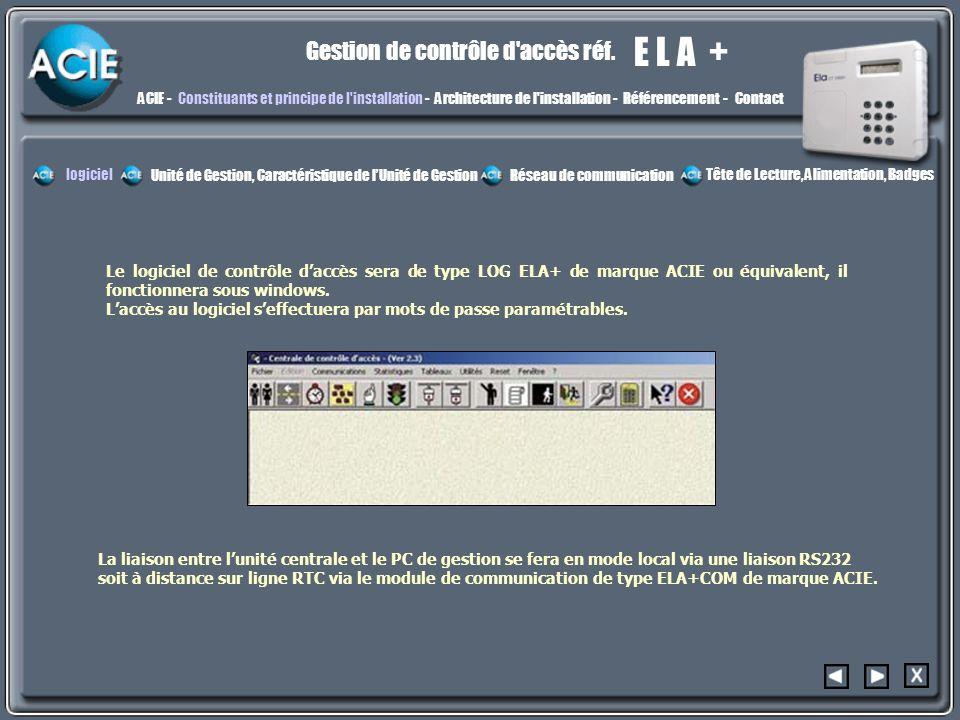 E L A + Gestion de contrôle d'accès réf. ACIE -Constituants et principe de l'installation - Architecture de l'installation - Référencement - Contact L