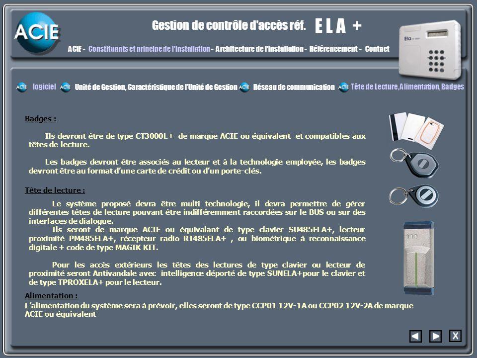 E L A + Gestion de contrôle d'accès réf. constit3constit3 ACIE -Constituants et principe de l'installation - Architecture de l'installation - Référenc