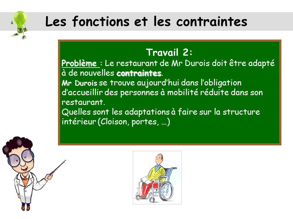 Travail 2: contraintes Problème : Le restaurant de Mr Durois doit être adapté à de nouvelles contraintes.