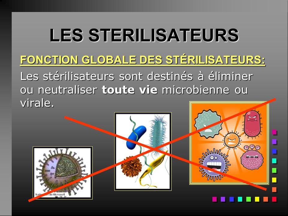 LES STERILISATEURS FONCTION GLOBALE DES STÉRILISATEURS: Les stérilisateurs sont destinés à éliminer ou neutraliser toute vie microbienne ou virale.