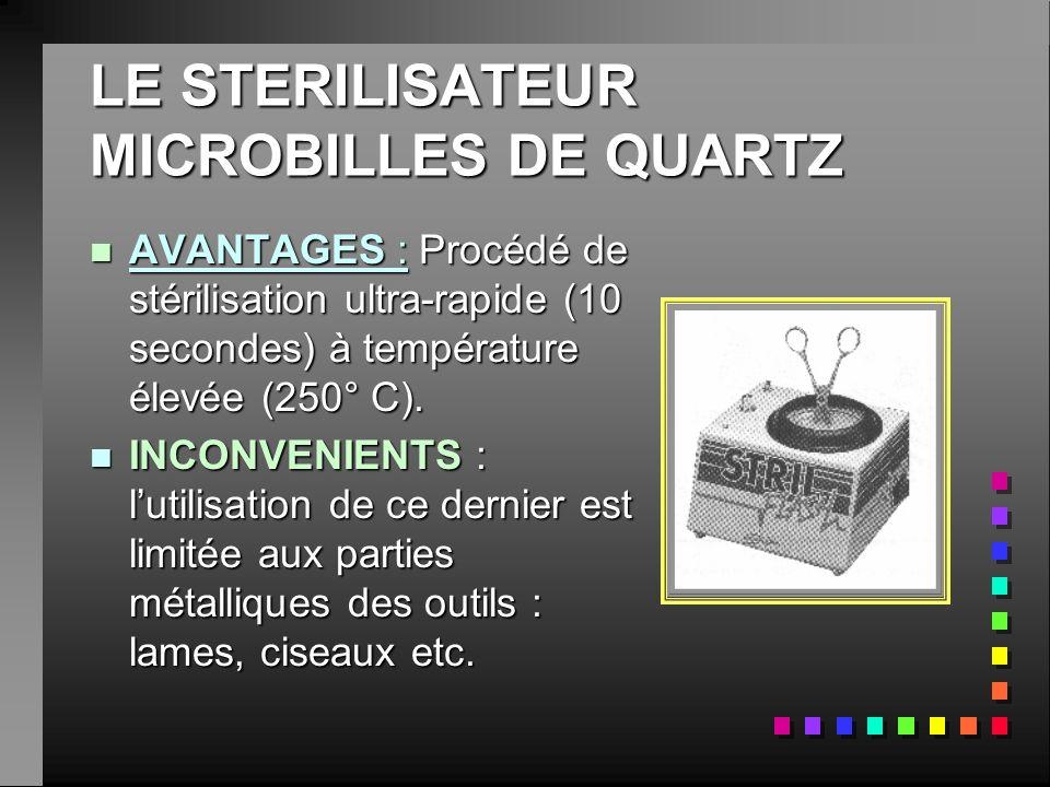 nAnAnAnAVANTAGES : Procédé de stérilisation ultra-rapide (10 secondes) à température élevée (250° C). nInInInINCONVENIENTS : lutilisation de ce dernie