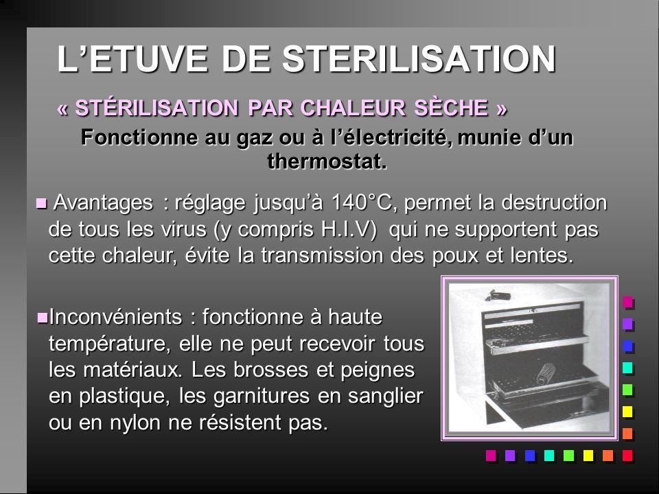 LETUVE DE STERILISATION « STÉRILISATION PAR CHALEUR SÈCHE » nInInInInconvénients : fonctionne à haute température, elle ne peut recevoir tous les matériaux.
