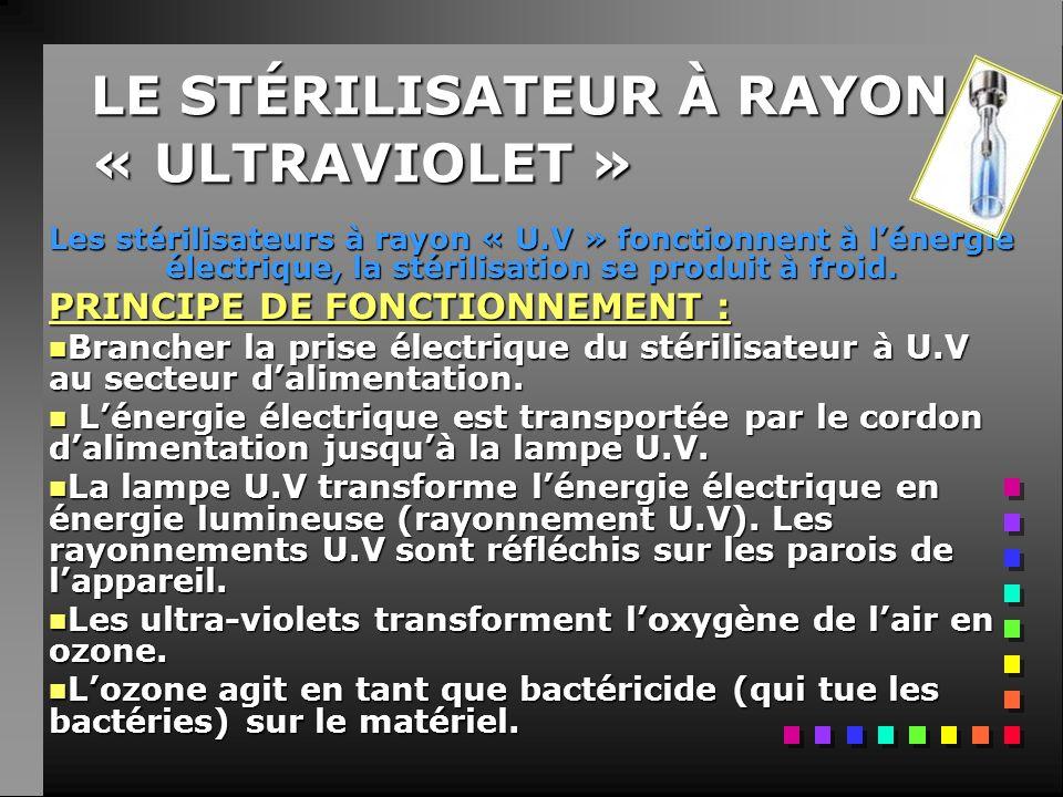 LE STÉRILISATEUR À RAYON « ULTRAVIOLET » Les stérilisateurs à rayon « U.V » fonctionnent à lénergie électrique, la stérilisation se produit à froid.