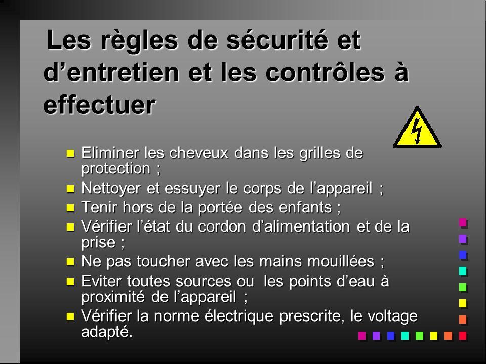 Les règles de sécurité et dentretien et les contrôles à effectuer Les règles de sécurité et dentretien et les contrôles à effectuer nEnEnEnEliminer les cheveux dans les grilles de protection ; nNnNnNnNettoyer et essuyer le corps de lappareil ; nTnTnTnTenir hors de la portée des enfants ; nVnVnVnVérifier létat du cordon dalimentation et de la prise ; nNnNnNnNe pas toucher avec les mains mouillées ; nEnEnEnEviter toutes sources ou les points deau à proximité de lappareil ; nVnVnVnVérifier la norme électrique prescrite, le voltage adapté.