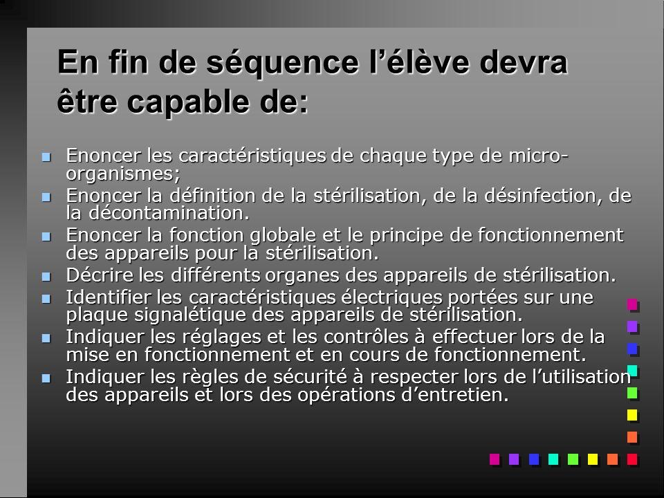 En fin de séquence lélève devra être capable de: nEnEnEnEnoncer les caractéristiques de chaque type de micro- organismes; nEnEnEnEnoncer la définition