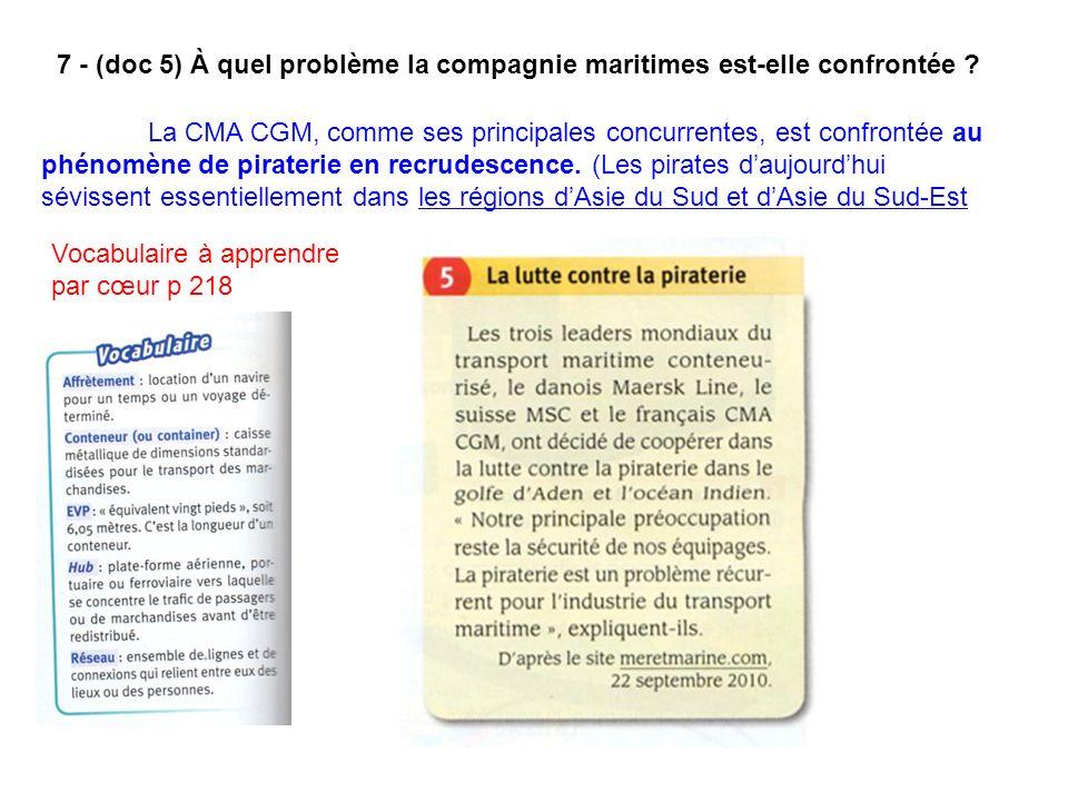 7 - (doc 5) À quel problème la compagnie maritimes est-elle confrontée ? La CMA CGM, comme ses principales concurrentes, est confrontée au phénomène d
