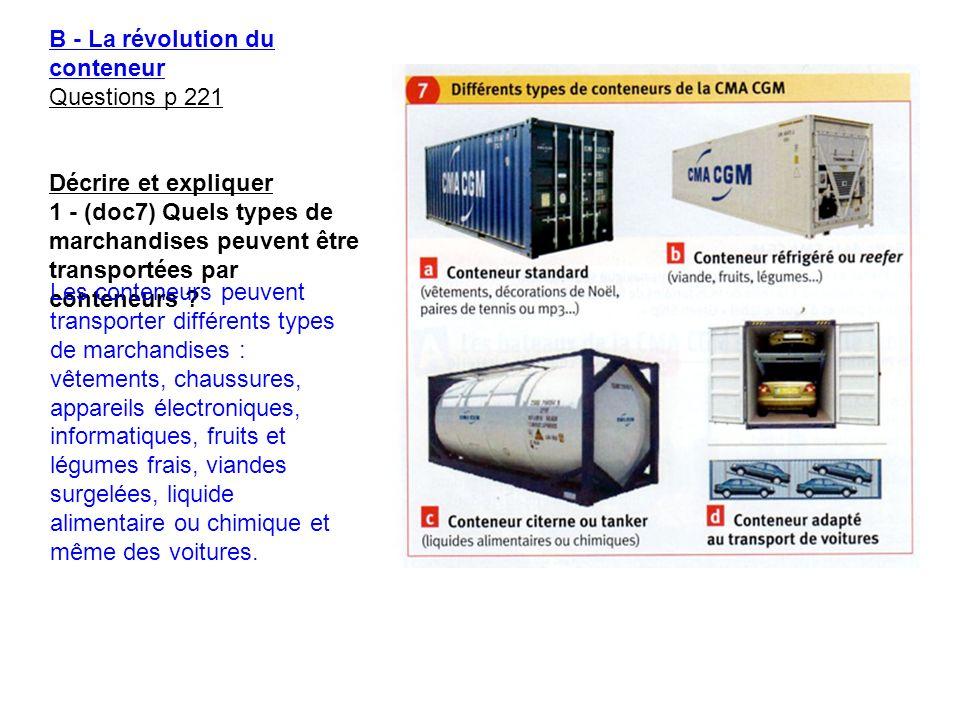 B - La révolution du conteneur Questions p 221 Décrire et expliquer 1 - (doc7) Quels types de marchandises peuvent être transportées par conteneurs ?