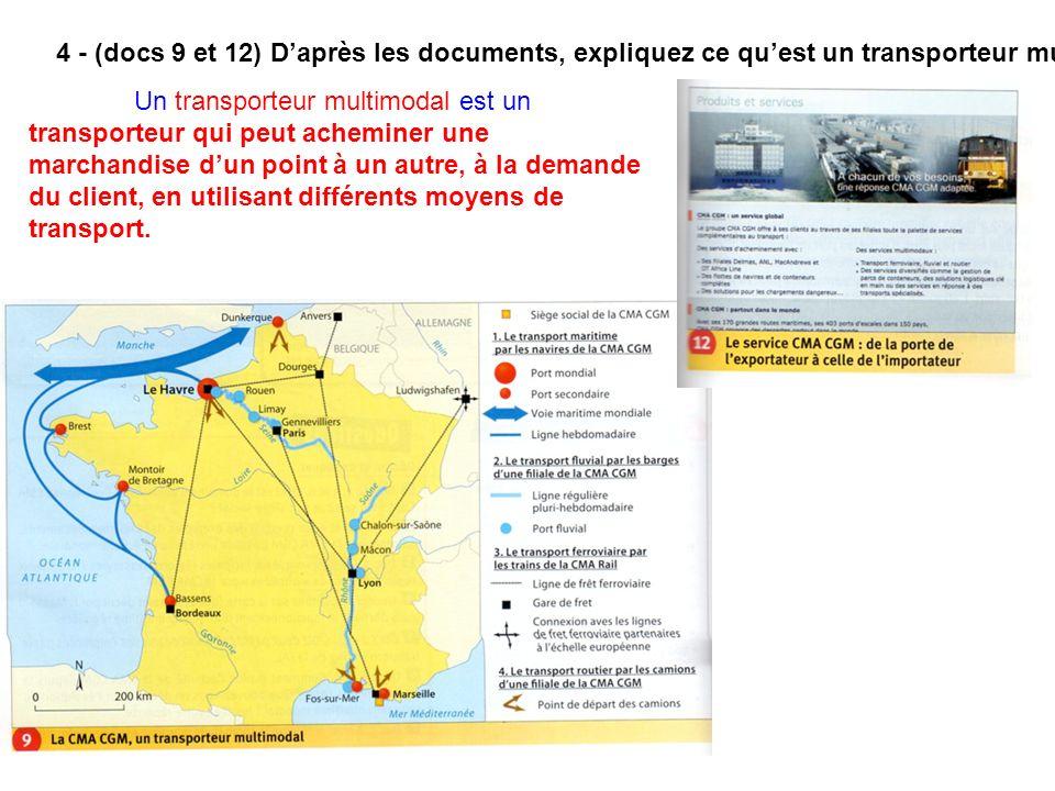 4 - (docs 9 et 12) Daprès les documents, expliquez ce quest un transporteur multimodal. Un transporteur multimodal est un transporteur qui peut achemi