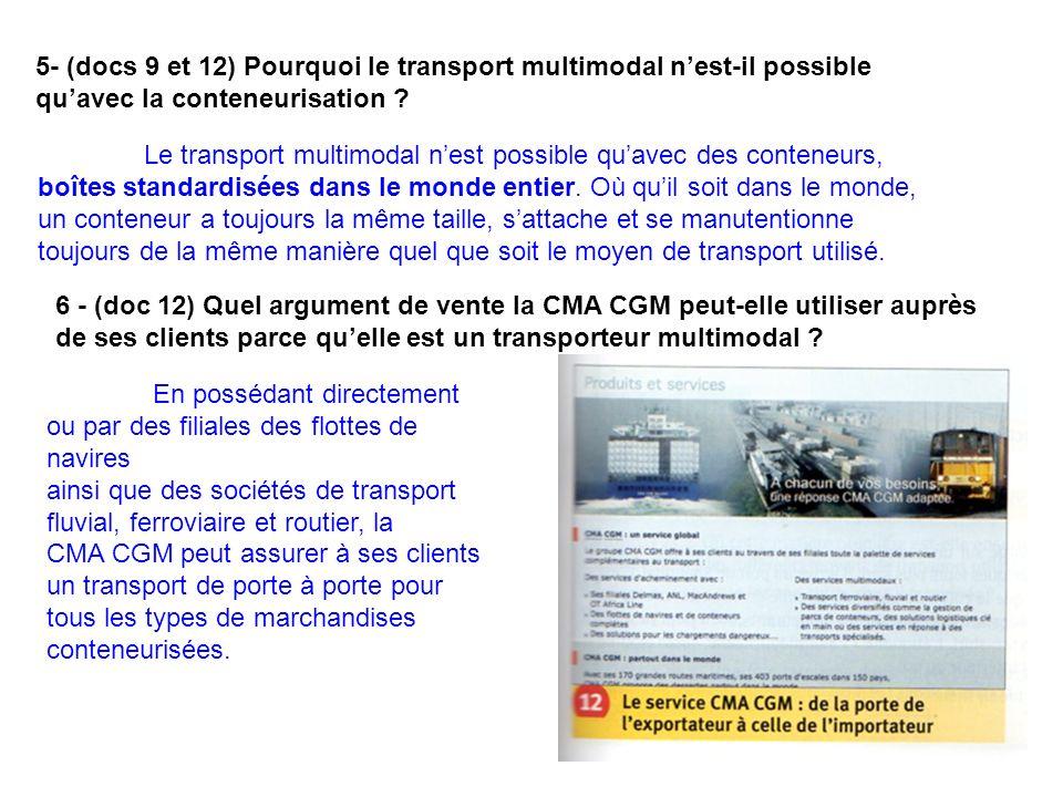 5- (docs 9 et 12) Pourquoi le transport multimodal nest-il possible quavec la conteneurisation ? Le transport multimodal nest possible quavec des cont