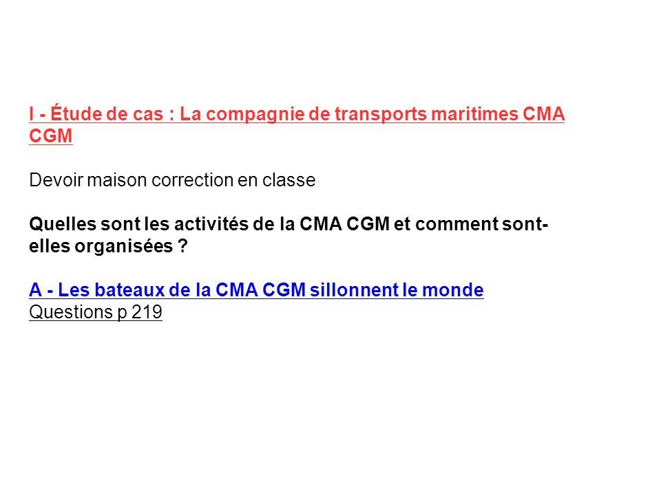 I - Étude de cas : La compagnie de transports maritimes CMA CGM Devoir maison correction en classe Quelles sont les activités de la CMA CGM et comment