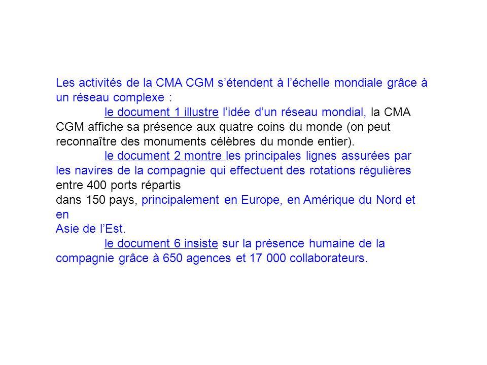 Les activités de la CMA CGM sétendent à léchelle mondiale grâce à un réseau complexe : le document 1 illustre lidée dun réseau mondial, la CMA CGM aff