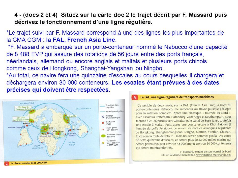 4 - (docs 2 et 4) Situez sur la carte doc 2 le trajet décrit par F. Massard puis décrivez le fonctionnement dune ligne régulière. *Le trajet suivi par