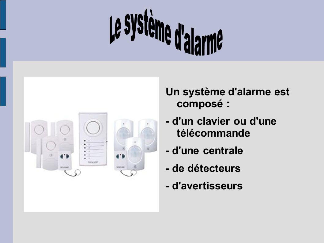 Un système d'alarme est composé : - d'un clavier ou d'une télécommande - d'une centrale - de détecteurs - d'avertisseurs