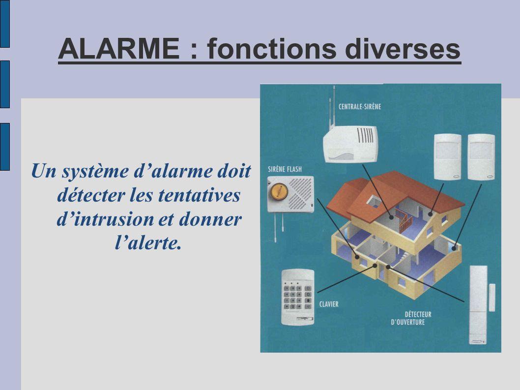 ALARME : fonctions diverses Un système dalarme doit détecter les tentatives dintrusion et donner lalerte.