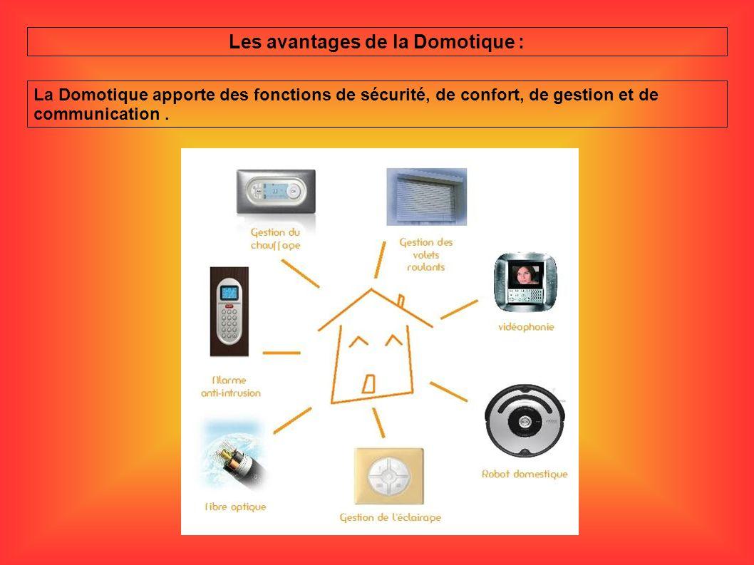 Les avantages de la Domotique : La Domotique apporte des fonctions de sécurité, de confort, de gestion et de communication.