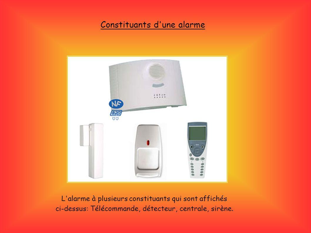 L'alarme à plusieurs constituants qui sont affichés ci-dessus: Télécommande, détecteur, centrale, sirène. Constituants d'une alarme