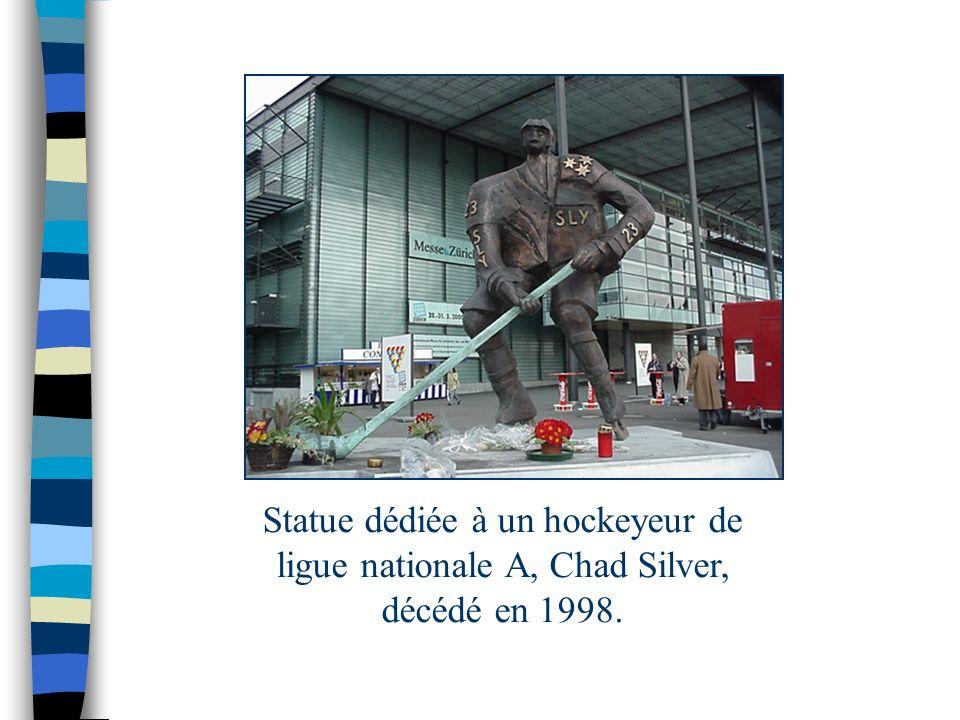 Statue dédiée à un hockeyeur de ligue nationale A, Chad Silver, décédé en 1998.