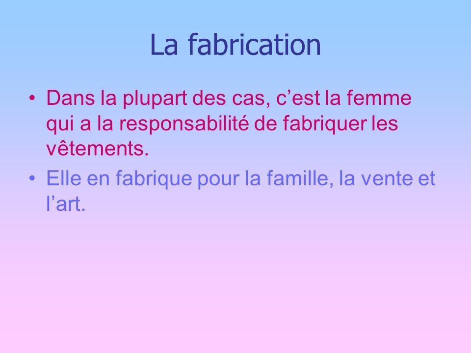 La fabrication Dans la plupart des cas, cest la femme qui a la responsabilité de fabriquer les vêtements.