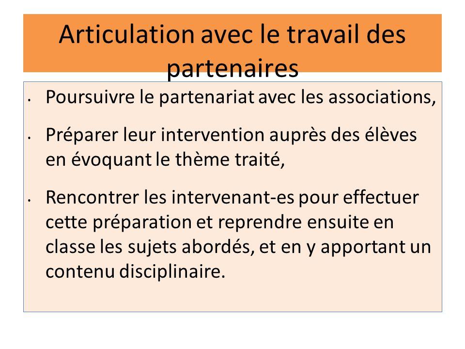 Articulation avec le travail des partenaires Poursuivre le partenariat avec les associations, Préparer leur intervention auprès des élèves en évoquant