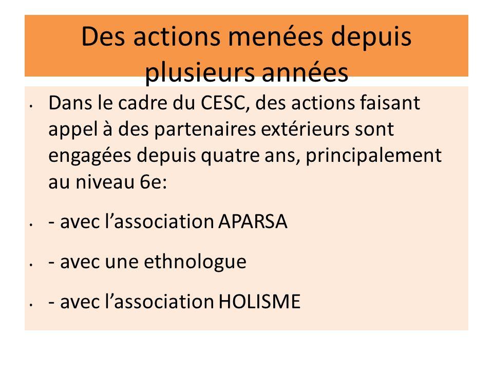 Des actions menées depuis plusieurs années Dans le cadre du CESC, des actions faisant appel à des partenaires extérieurs sont engagées depuis quatre a